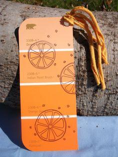 Orange Burst handdrawn paint chip bookmark by ChangelingStudio on Etsy, $3.50