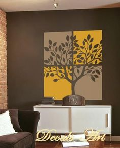 Nature Wall Decoration - Two Color Tree Panel - Vinyl Wall Sticker - Tree - Vinyl wall decals art Wall Painting Decor, Mural Wall Art, Nursery Wall Decals, Vinyl Wall Stickers, Diy Wall Decor, Vinyl Wall Decals, Room Decor, Tree Decals, Funky Furniture