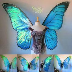 Giant Blue Morpho Iridescent Fairy Butterfly Wings by FaeryAzarelle on DeviantArt Morpho Bleu, Morpho Azul, Blue Morpho, Morpho Butterfly, Butterfly Fairy, Blue Butterfly, Butterfly Fashion, Butterfly Dress, Halloween Kostüm