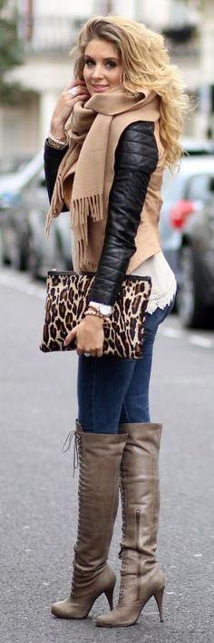#winter #fashion / camel scarf + leather