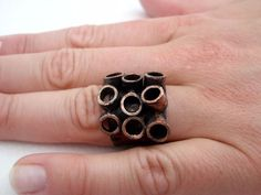 Rings – Tubes. industrial style copper ring – a unique product by LydiaRED on DaWanda