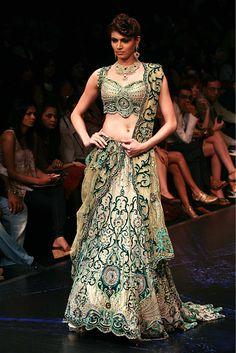 Beautiful Design - Creamy white and green work over it. #lehenga #choli #indian #hp #shaadi #bridal #fashion #style #desi #designer #blouse #wedding #gorgeous #beautiful