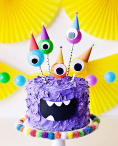 Monster Birthday Cake for Kids Monster Smash Cakes, Monster Birthday Cakes, Monster 1st Birthdays, Monster Birthday Parties, 1st Boy Birthday, 3rd Birthday Parties, First Birthdays, Purple Birthday, Birthday Ideas