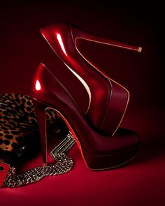 Neiman Marcus | Burgundy Patent Platform Heels