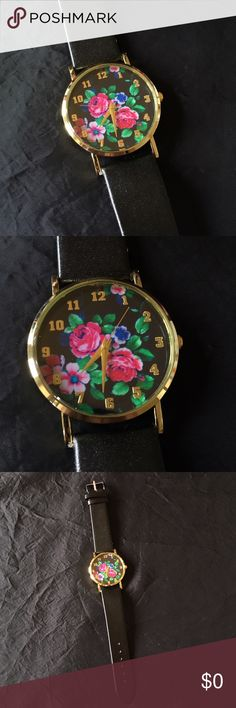 Pretty Floral Watch Pretty watch with a flower design on the face and a golden toned edge. Black faux leather band. One size fits most (teens-adults) as it adjusts. Bundle and save even more! :) Accessories Watches