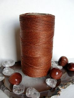 11 yards x 1 color caramel BROWN  linen thread by PaintingJewelry