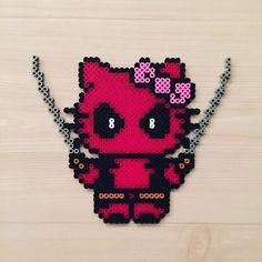Deadpool Hello Kitty perler beads by kittybeads
