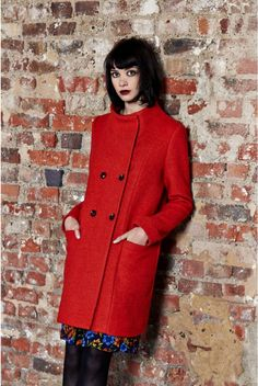 Louche Binase Double Breasted Funnel Neck Coat