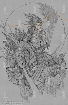 Indonesian Art, Japan Tattoo, Asian Style, Blackwork, I Tattoo, Digital Art, Japanese, Cool Stuff, Drawings