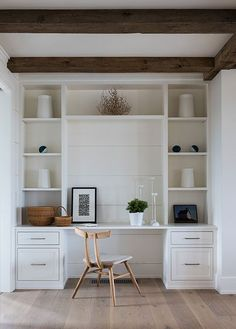 Home Interior Paint Built in desk area goals! Who else wouldn't mind working from this gorgeous space? Extra wide shiplap panels wood teak desk chair styled shelves home office wood beams with white walls Furniture, Built In Desk, Home Office Decor, Home Office Furniture, Interior, Home, Built Ins, Interior Design, Office Design