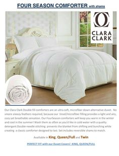 Clara Clark $ Season Alternative Goose Down Comforter Free Home Delivery Tax Included  Double -Queen $40 King $45