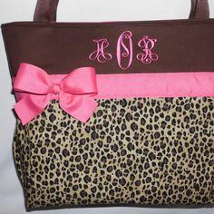 Hot Pink  Accents .. Cheetah ... LEOPARD  Print.... Diaper  Bag .. ...... | TweedleTotes - Bags & Purses on ArtFire