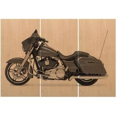 Harley Davidson Street Glide Road King Motorcycle Bike Print Wood... ($125) ❤ liked on Polyvore featuring home, home decor, wall art, grey, home & living, home décor, handmade home decor, wall street art, wood painting and grey wall art