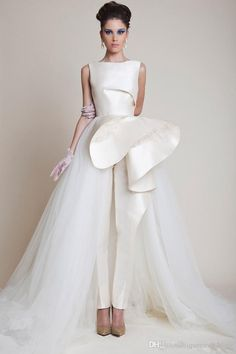 I'm kind of loving this idea - a wedding dress jumpsuit. Azzi & Osta Offwhite Silk Faille and Tulle Bridal Jumpsuit Collection Couture, Bridal Collection, Spring Collection, Style Couture, Couture Fashion, Bridal Fashion, Luxury Fashion, Wedding Dresses 2014, Wedding Gowns
