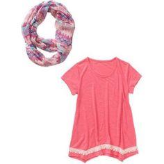 Self Esteem Girls' Hi Lo Short Sleeve Crochet Hem with Pattern Eternity Scarf, Size: Large, Orange