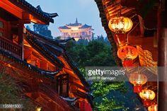 Stock Photo : Lanterns and Temple,Lijiang,Yunnan,China