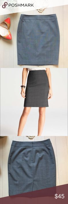 "🆕 listing! Ann Taylor Perfect Gray Pencil Skirt Everyone needs a skirt like this- beautiful gray with subtle plaid lines throughout, stretch material (poly, wool and spandex blend) and smart cut! Wear with heels, a pretty colored Blouse and Statement necklace. You'll love it! Hidden back zip and vent. Threads at vent are coming apart on inner lining only as shown. Length approx 20"" and waist 14.5"" lying flat 💕 Ann Taylor Skirts Pencil"