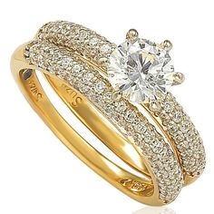 Suzy Levian Bridal Sterling Silver Cubic Zirconia Engagement Ring Band Set (Size 8), Women's, Yellow