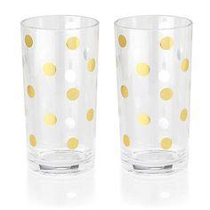 """Kate Spade Gold Dot Highball Glasses -Set of 2- """"Raise Your Glass"""" Design"""