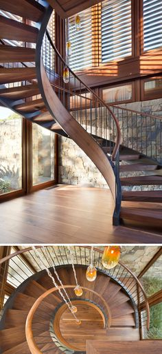 This modern house has a wood and metal spiral staircase that connects the various floors of the home. #SpiralStaircase #StairDesign