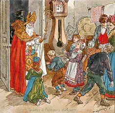 Saint Nicolas en Alsace, image d'Epinal Toy Theatre, Patron Saints, Noel Christmas, Alsace, Paper Dolls, Santa, Drawings, Painting, Dutch