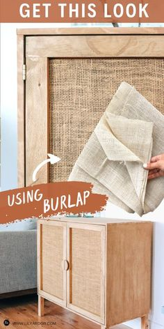 Diy Home Furniture, Refurbished Furniture, Furniture Projects, Furniture Makeover, Diy Home Decor, Diy Projects, Burlap Furniture, Diy Cabinets, Handmade Home