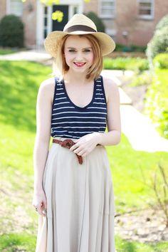 Poor Little It Girl - Gap Navy & White Striped Tank, Madewell Midi Skirt, Zara Nude Ankle Strap Heels and Greenpacha Panama Hat