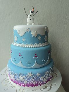 Disney Frozen birthday cake with Olaf... Prob with just the top layer and cupcakes decorated like snowballs around it..~Angie