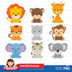 Cute Wild Animals Digital Clipart by ClipartMama on Etsy
