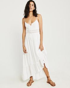 Lace Maxi Dress, WHITE, spring dresses, spring style Abercrombie #ad