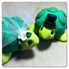 Custom Turtle Wedding Cake Topper by LuLuAmour on Etsy, $80.00, just because I love turtles!!!