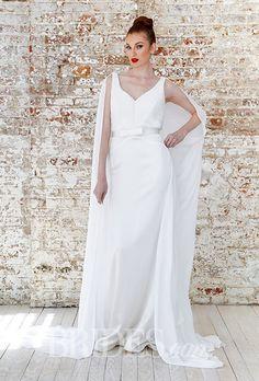 A @jeanralphthurin wedding dress with a cape   Brides.com