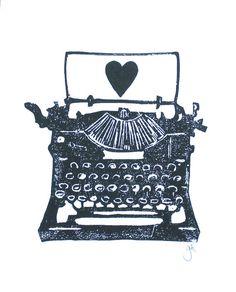 IMPRIMIR - antiguo escribir sobre linóleo negro impresión w / tipografía corazón 8 x 10