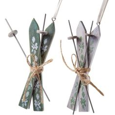 Set of Two Hanging Winter Skis Christmas Decorations