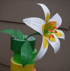Duct Tape Lily by on DeviantArt Duct Tape Projects, Duck Tape Crafts, Duct Tape Flowers, Paper Flowers, Painting Canvas Crafts, Tape Painting, Birthday Gifts For Teens, Teen Birthday, Tape Art