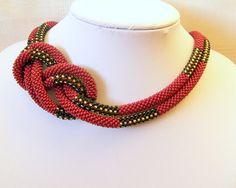 WINTER SALE Long Beaded Crochet Rope Geometric necklace von lutita