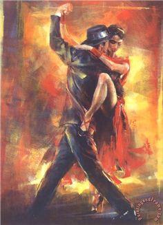 Tango Argentino painting  -  Pedro Alvarez Tango Argentino Art Print