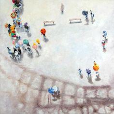 Olivier Robin  Paris sous la pluie 3  60x60 Cm  Huile sur toile