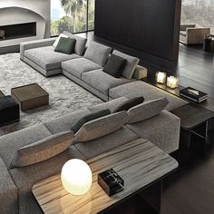 Shared by 🍸🦪. Find images and videos about aesthetic, luxury and interior on We Heart It - the app to get lost in what you love. Living Room Tv Unit Designs, Living Room Sofa Design, Home Room Design, Home Living Room, Home Interior Design, Living Room Decor, Luxury Sofa, Luxury Living, Sala Grande