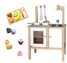 Woodlii Träleksaker Paket Köksutrustning med Bakelser & Frukt