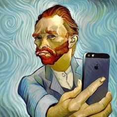 """This is like a Van Gogh yet the Rembrandt """"Man with the red beard"""" translated. Yet a modern art form of selfie. What a fantastic juxtaposition of the degradation of portrait. Vincent Van Gogh, Pop Art, Arte Peculiar, Funny Paintings, Watercolor Paintings, Photocollage, Portrait Illustration, Funny Art, It's Funny"""