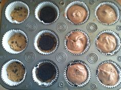 Preheat oven to 350; Put in cupcake liners, smooth refrigerated cookie dough into bottom of each well. Place Oreo OR Reese cup on top of cookie dough. Top with prepared box of brownie mix, filling 3/4 full. Bake for 18-20 minutes.                     HEAVEN!