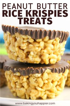 dessert recipes Peanut Butter Rice Krispies Treats, a dairy-free quick and easy to make no bake dessert! Everyone will love this not too sweet crispy treat! No Bake Desserts, Easy Desserts, Delicious Desserts, Dessert Recipes, Cheesecake Desserts, Easy Sweets, Raspberry Cheesecake, Baking Desserts, Fudge Recipes