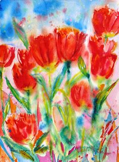 Red tulip abstract original watercolor painting spring flower garden landscape impressionsim fine art 11 x 15