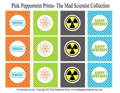Printable Party Circles- The Mad Scientist Birthday Party Printable Collection 2 inch party circles. $6.50, via Etsy.