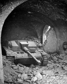 Abandoned German StuG 40 ( tanks destroyer).Unknown location, 1944