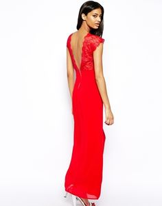 Red maxi dress with lace detail