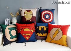 20% OFF ! Super hero superman Batman Pillow Cover Cushion Cover  Cotton Linen Blend Throw Pillow Cover - 18X18 inch