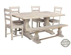 Farmhouse Dining Set, Rustic Kitchen Tables, Kitchen Table Bench, Kitchen Dining Sets, Pedestal Dining Table, White Wood, Table And Chairs, Beach House, Modern
