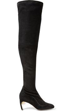 NICHOLAS KIRKWOOD Maeva embellished stretch-suede over-the-knee boots